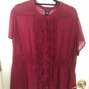 Torrid Fuschia Blouse with polka dots